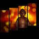 Статуя Будды на фоне огней