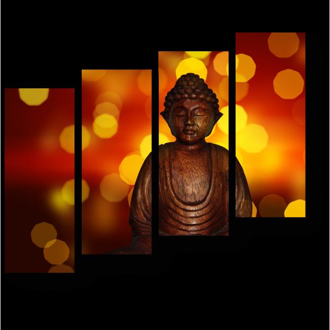 Модульная картина Статуя Будды на фоне огней