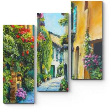 Модульная картина Цветочная улица в Италии