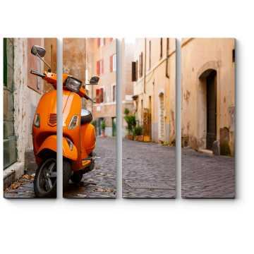 Модульная картина Старые улицы города с мотоциклом в Риме