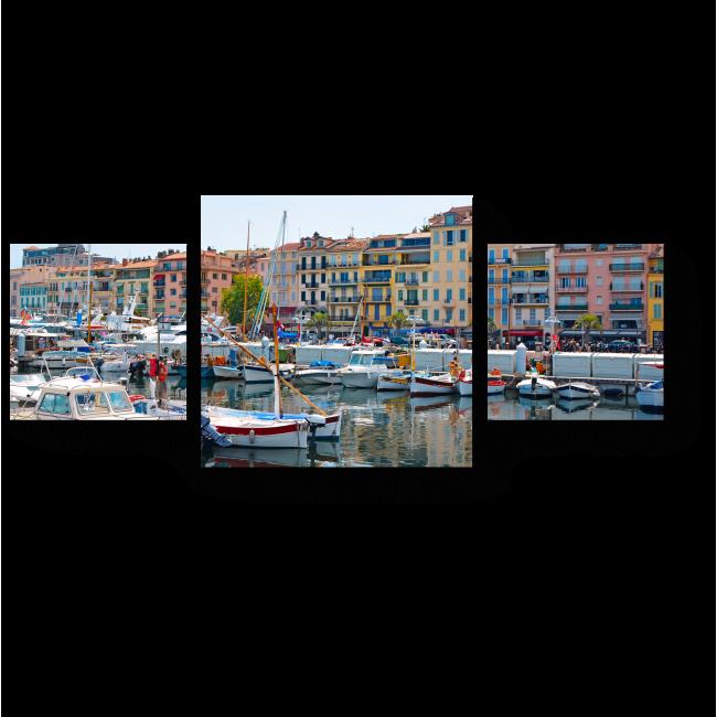 Модульная картина Старый город и гавань в Каннах
