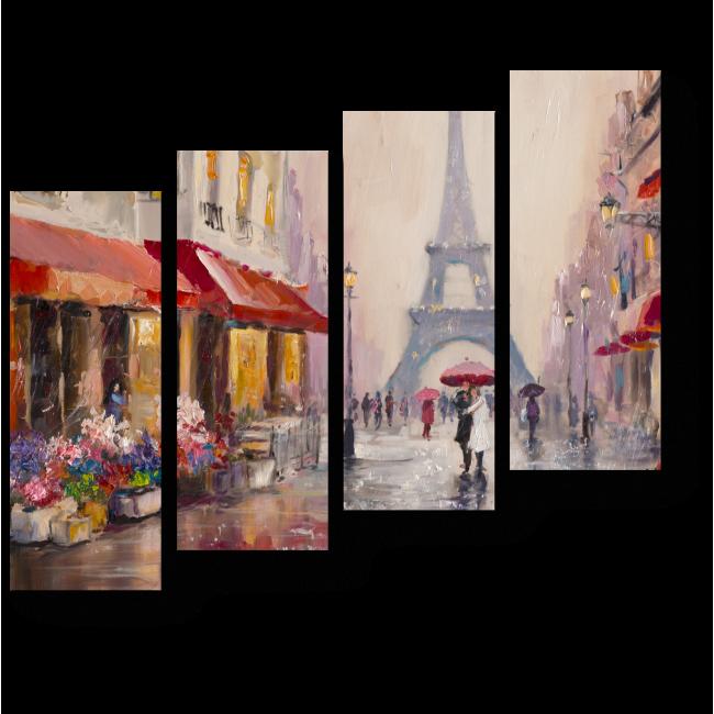 Модульная картина Пара влюбленных под зонтом