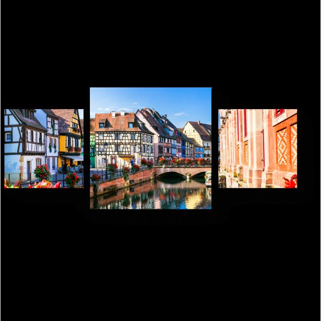 Модульная картина Красивый вид на город Кольмар, Франция