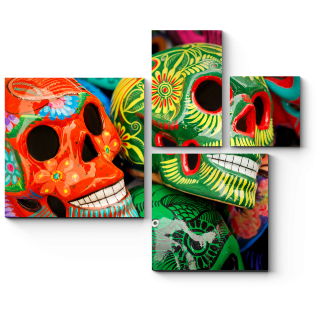 Модульная картина Символ смерти. Краски Мексики.