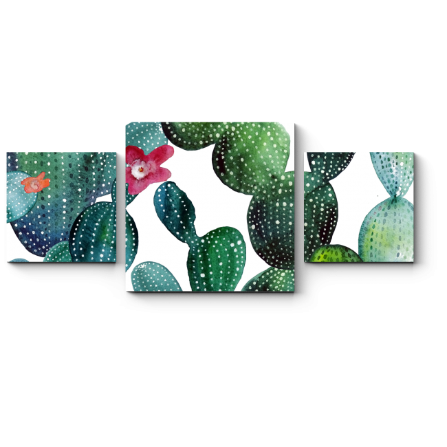 Модульная картина Акварельные кактусы