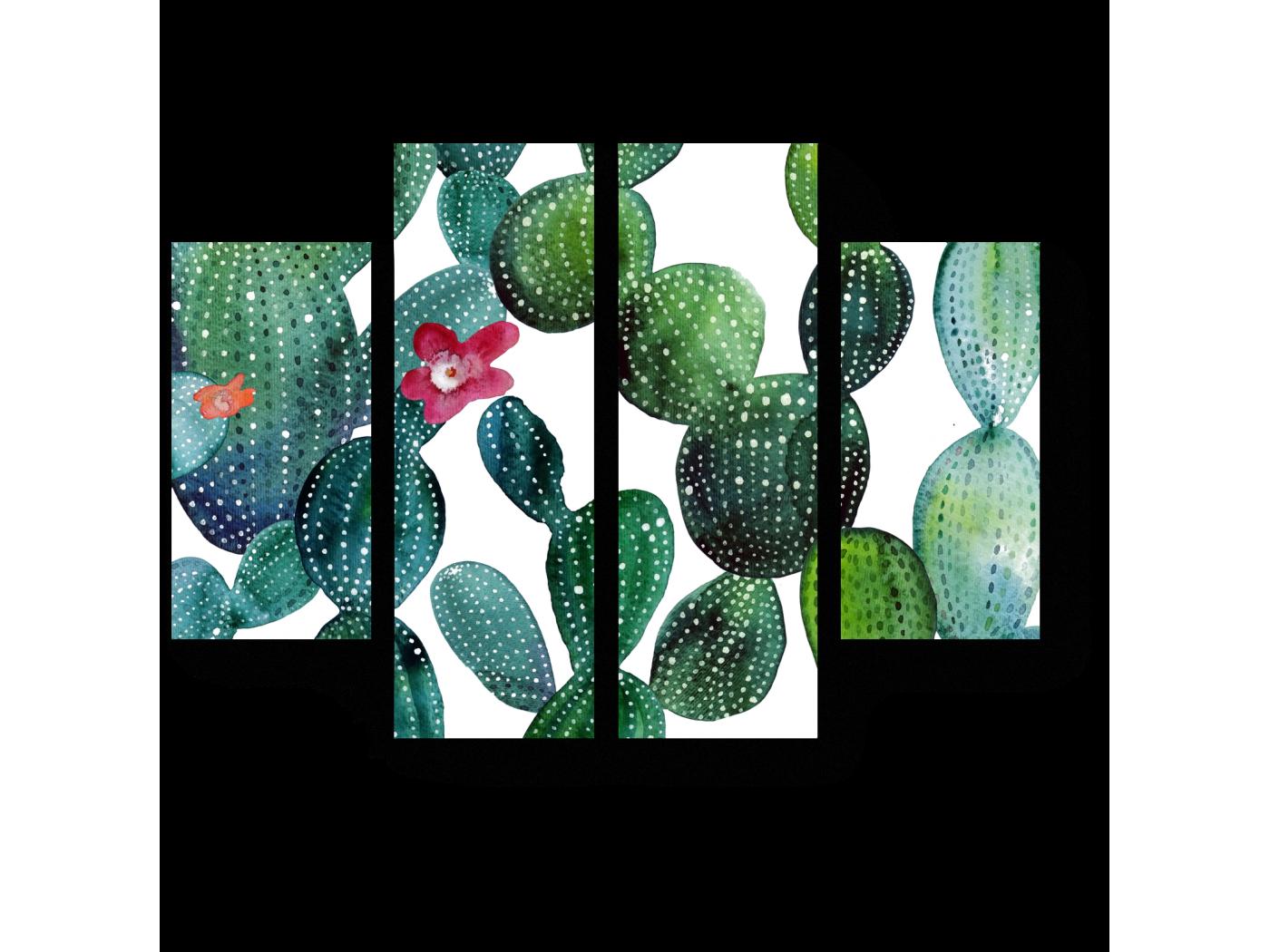 Модульная картина Акварельные кактусы (80x60) фото