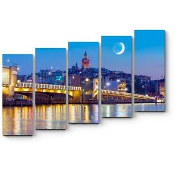 Модульная картина Стамбульская ночь. Галатская башня.
