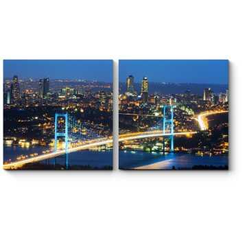 Модульная картина Город не спит, ночной Стамбул