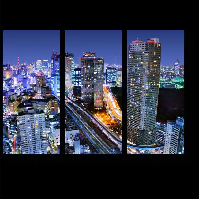 Модульная картина Ночная жизнь, Токио
