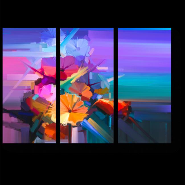 Модульная картина Цветочная абстракция, букет гербер