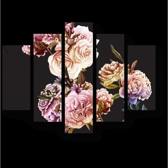 Модульная картина Цветочный тандем