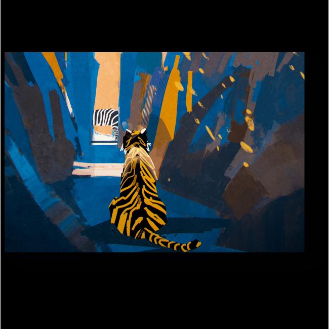 Модульная картина Преследование, цифровая живопись