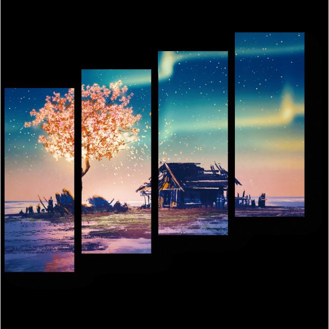 Модульная картина Северное сияние над заброшенным домом, иллюстрация