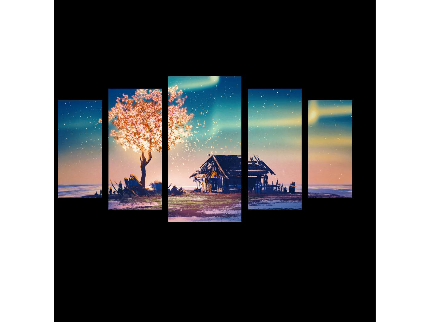 Модульная картина Северное сияние над заброшенным домом, иллюстрация (100x55) фото