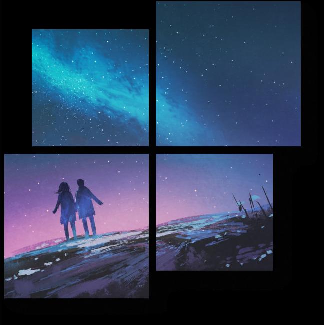Модульная картина Взор влюбленных на млечный путь