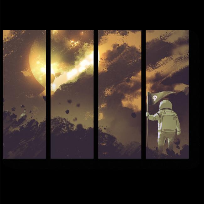 Модульная картина Финиш космонавта, иллюстрация