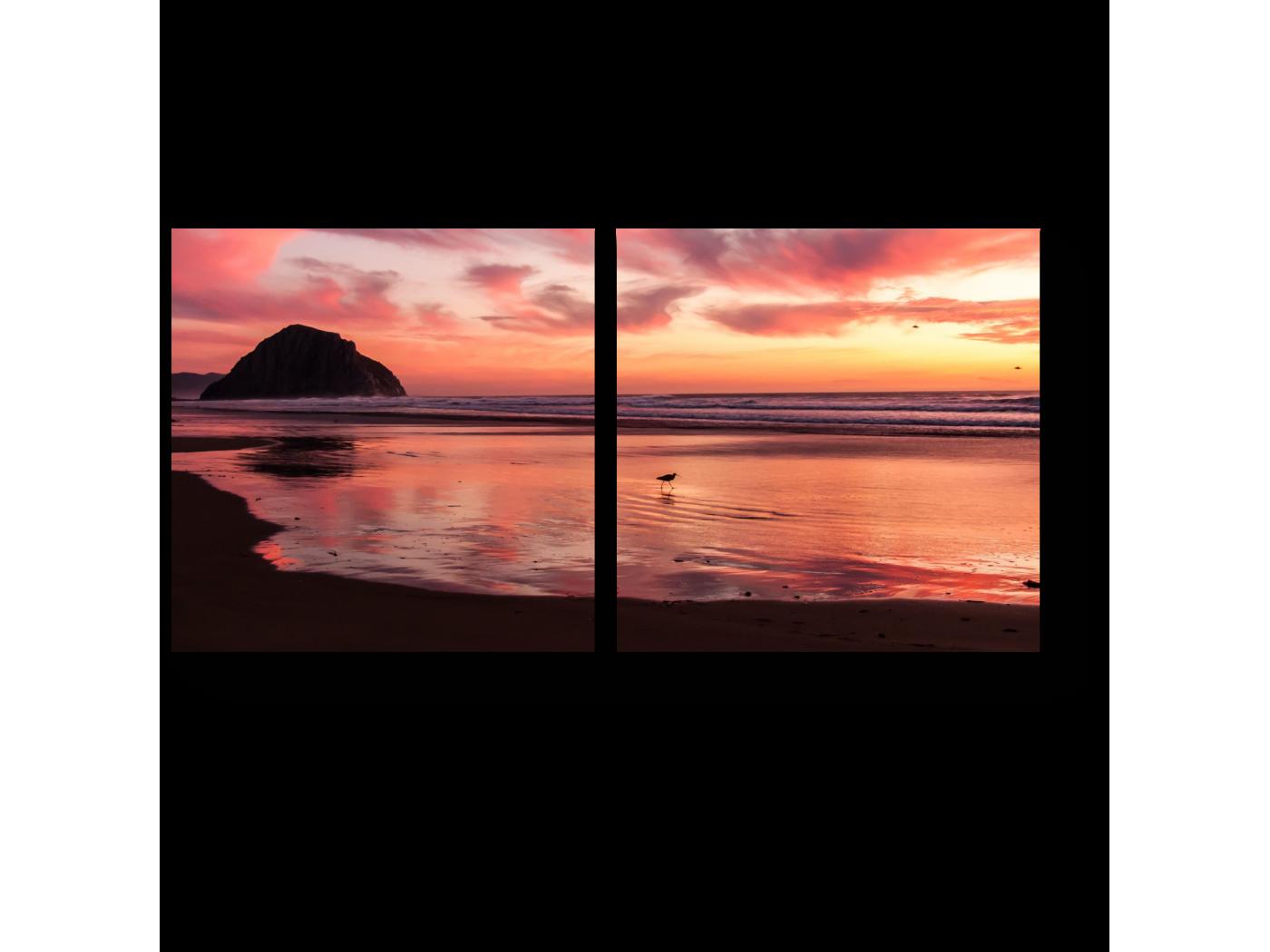 Модульная картина Алый закат (40x20) фото