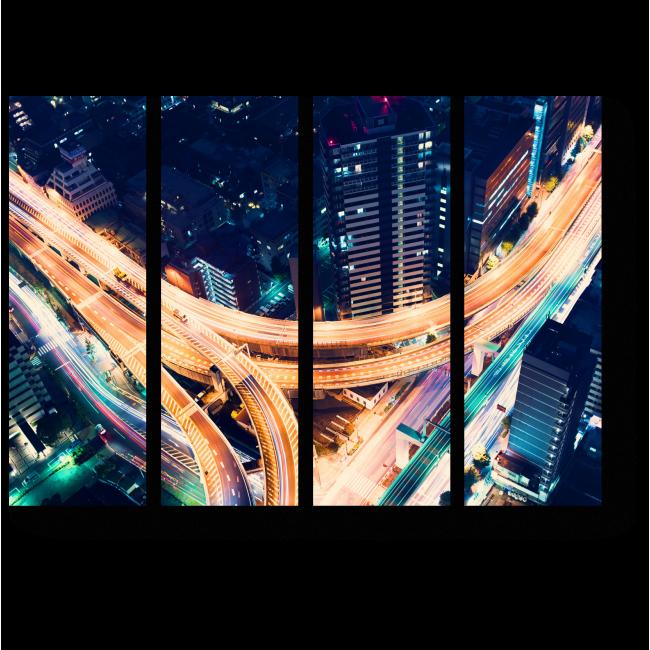 Модульная картина Пролетая над ночным Токио