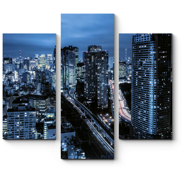 Модульная картина Токийские небоскребы ночью
