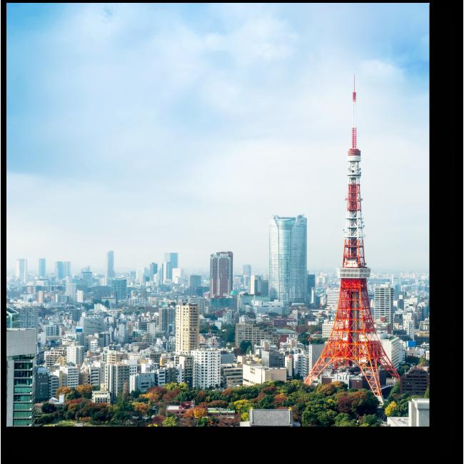 Модульная картина Летнее небо над Токийской телебашней