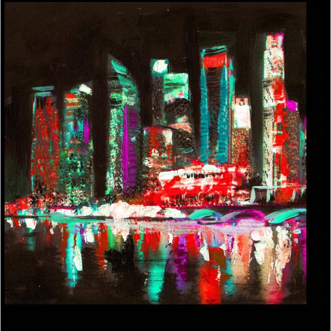 Модульная картина Ночной Сингапур маслом