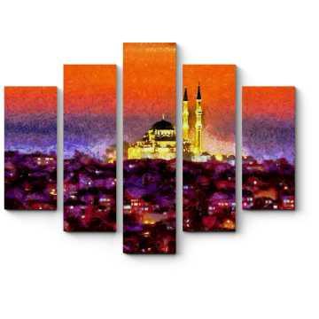 Модульная картина Сияющий Стамбул ночью