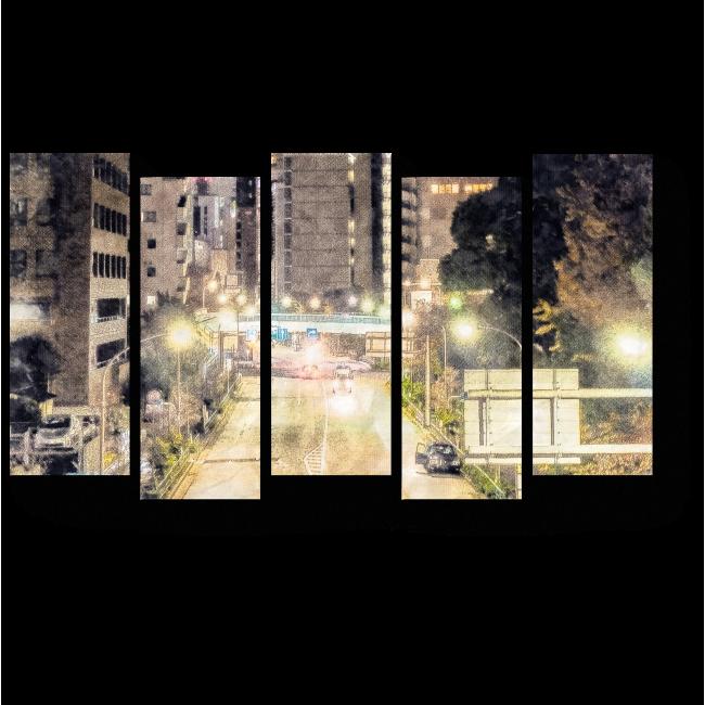 Модульная картина Небоскребы в Токио