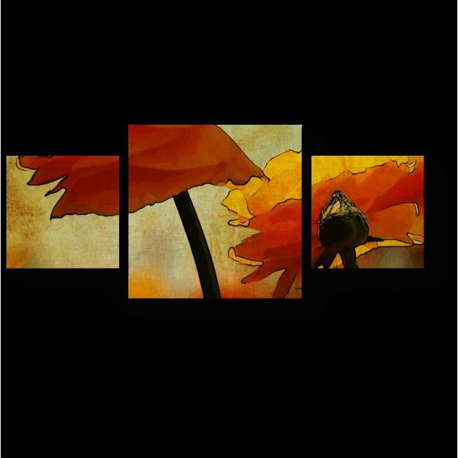 Модульная картина Огненные цветы