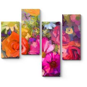 Модульная картина Яркий букет цветов