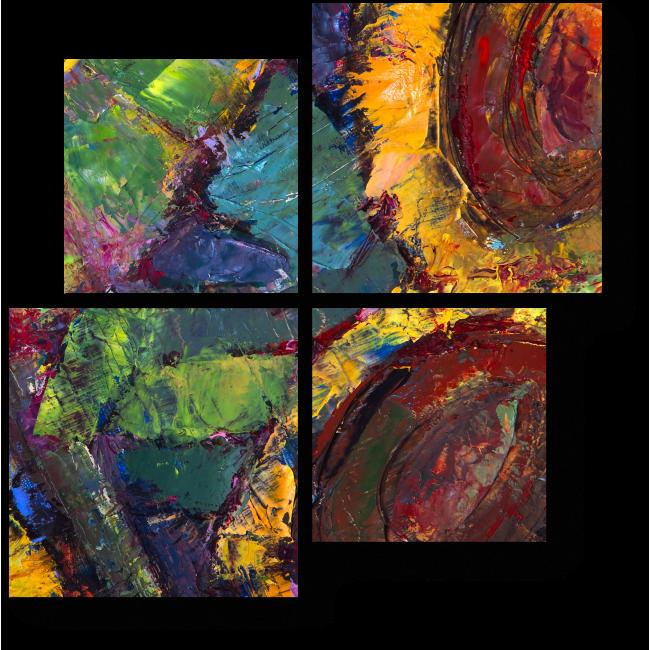 Модульная картина Яркие подсолнухи маслом