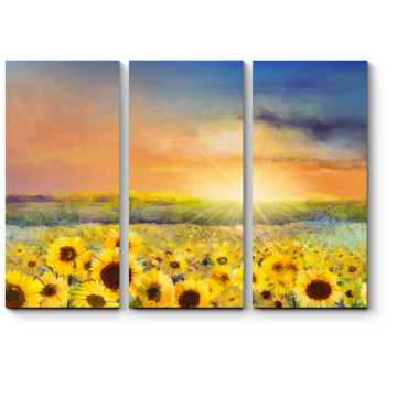 Модульная картина Подсолнуховое поле в лучах солнца