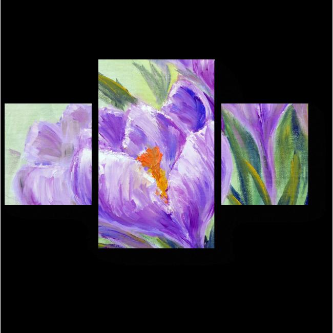 Модульная картина Цветы, нарисованные маслом