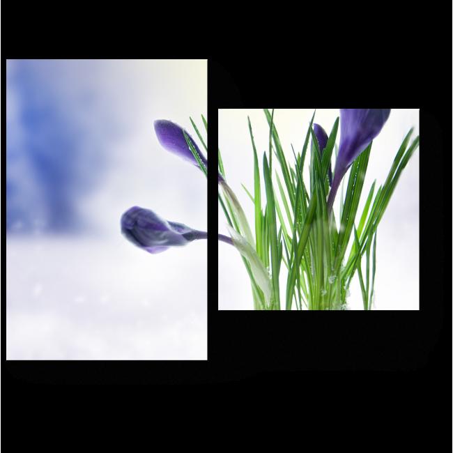 Модульная картина Первые цветы