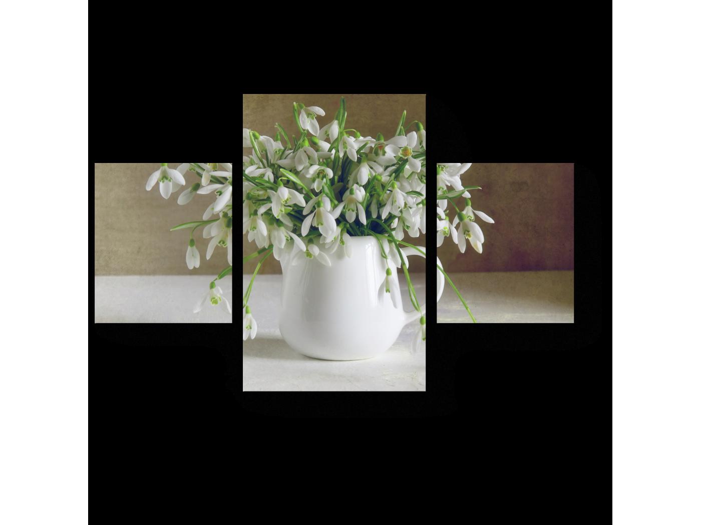 Модульная картина Нежные подснежники (80x52) фото