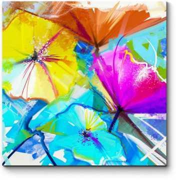 Модульная картина Весенние цветы, импрессионизм, масло