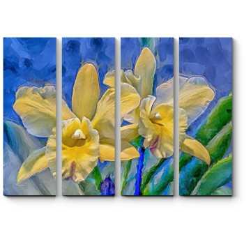 Модульная картина Нежные желтые орхидеи