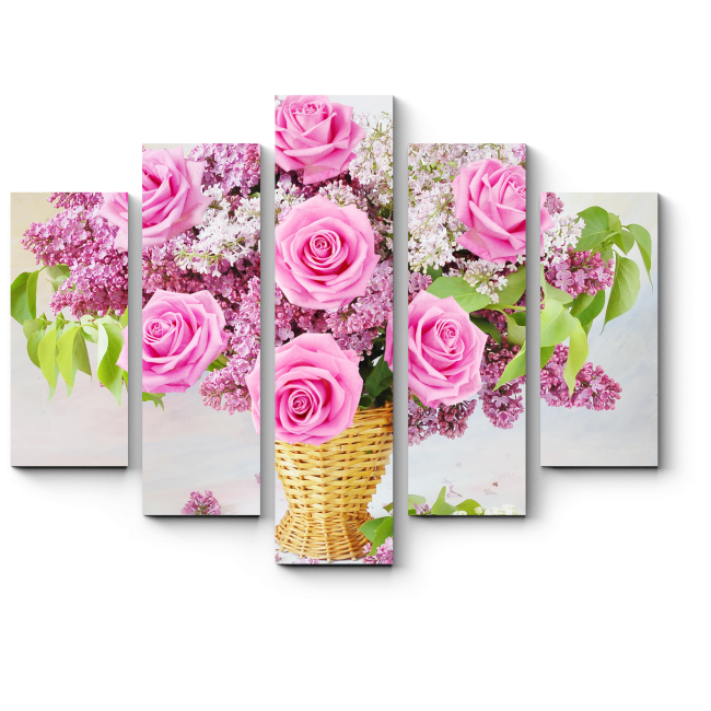 Модульная картина Цветочная корзина счастья