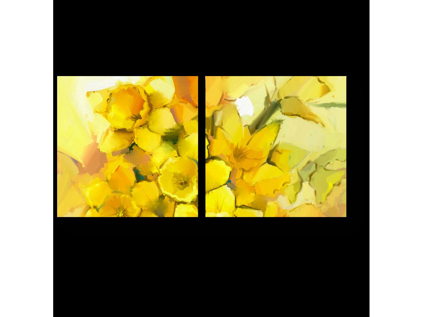 Модульная картина Солнечный букет нарциссов (40x20) фото