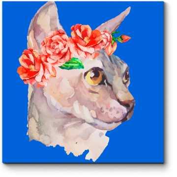 Стильная кошечка в венке из роз