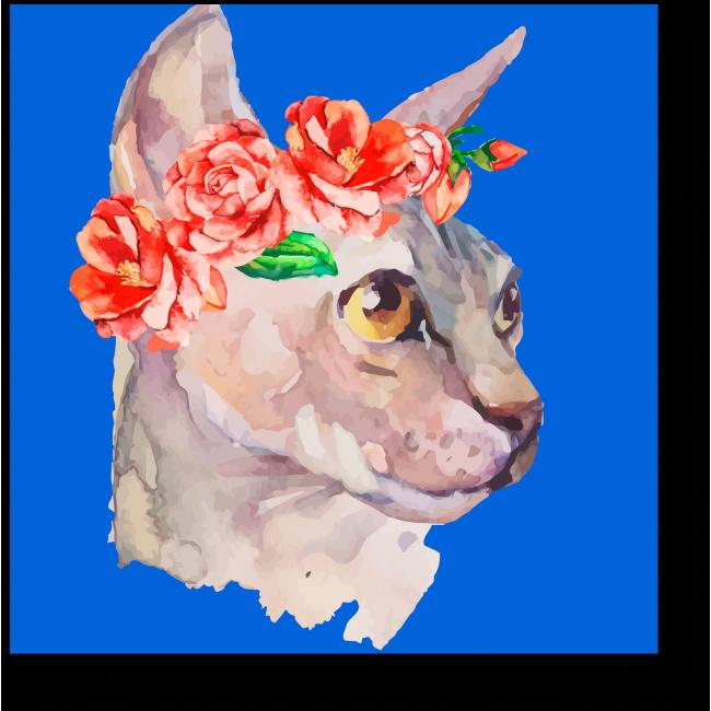 Модульная картина Стильная кошечка в венке из роз