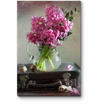 Розовый гиацинт, старый чемодан и перепелиные яйца