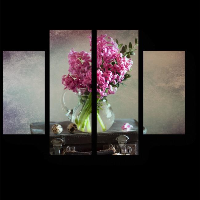 Модульная картина Розовый гиацинт,  старый чемодан и перепелиные яйца