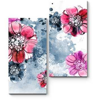Модульная картина Винтажные романтические цветы, акварель