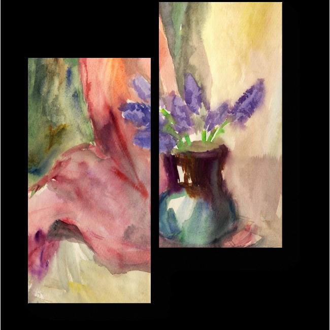 Модульная картина Нежные гиацинты в вазе