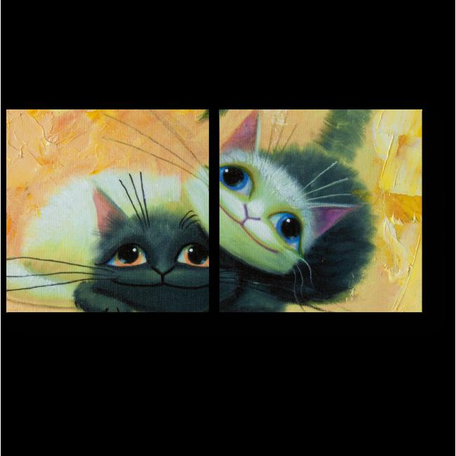 Модульная картина Серые котята играют