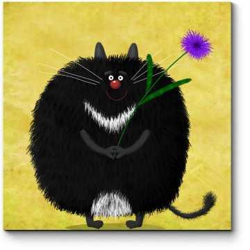 Милый черный кот с фиолетовой астрой