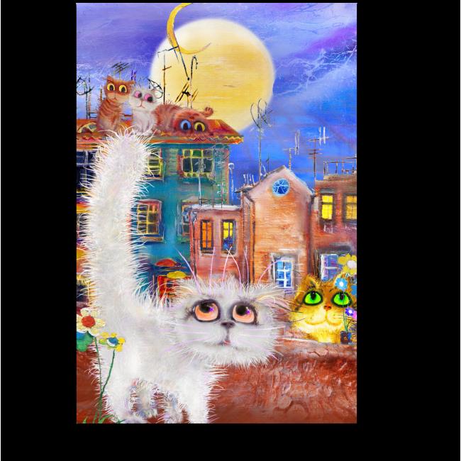 Модульная картина Обаятельные котики летней ночью