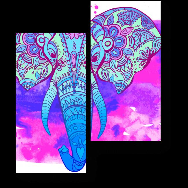 Модульная картина Индийский арт слон