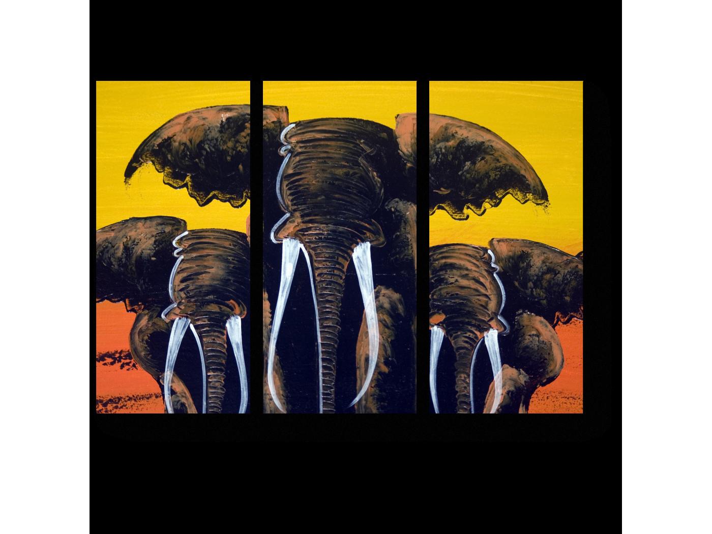 Модульная картина Могучее трио слонов (60x43) фото