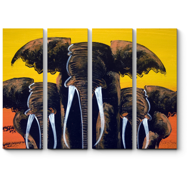 Модульная картина Могучее трио слонов
